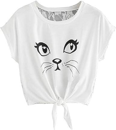 QinMM Camiseta Gato Estampada Respaldo Encaje de Mujer, Camisa de Manga Corta de Verano Tops (Blanco, L): Amazon.es: Ropa y accesorios