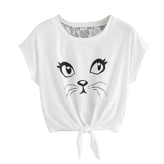 QinMM Camiseta Gato Estampada Respaldo Encaje de Mujer, Camisa de ...