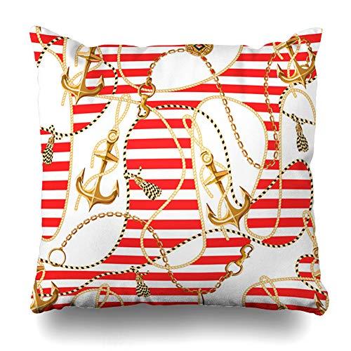 - Ahawoso Throw Pillow Cover Square 20x20 Blue Nautical Gold Anchor Coins Chains Pattern Travel Vintage Navy Sail Abstract Baroque Belt Design Marine Home Decor Cushion Case Pillowcase
