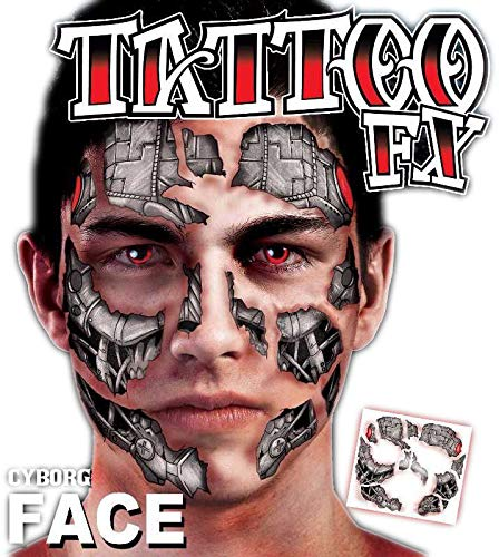 Adults Cyborg Robot Face Transfer Tattoo Face Paint Special Effects FX Halloween TV Book Film Movies Fancy Dress Costume Outfit Accessory ()