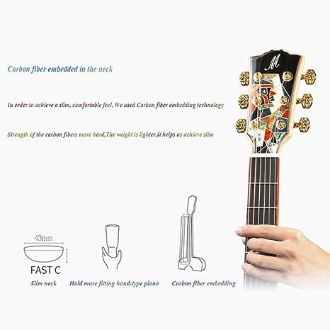 QING.MUSIC Guitar Guitarra Spruce de 42 Pulgadas, Instrumento ...