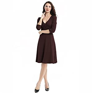 Womens Casual Dresses Short Knee Length Cocktail Pleated Business Dress