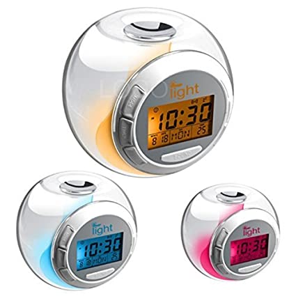 Digimate LED despertador digital reloj digital (transparente) con sonidos naturales y 7 Cambio de
