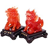 Feng Shui Set of Two Wealth Prosperity Qilin/Kylin Statue, Home Decoration Gift,Feng Shui Decor Attract Wealth and Good Luck,Red Color