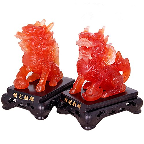 Feng Shui Set of Two Wealth Prosperity Qilin/Kylin Statue, Home Decoration Gift ,Feng Shui Decor Attract Wealth and Good Luck,Red Color
