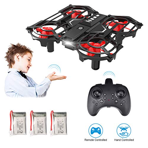 Upgraded 2 in 1 Hand Operated Drones & Remote Control Mini Drone for Kids Gifts, Funkprofi RC Pocket Quadcopter with Altitude Hold, Headless Mode, 3D Flip, Speed Adjustment and 3 Batteries