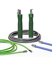 HEREROPE Interchangeable Weighted Jump Rope Set, 1/4LB, 1/2LB ,1LB Professional Jump ropes with Optimal Ball-bearing system, No-slip Handles, Skipping ropes for Men, Women, Fitness, workout, Strength