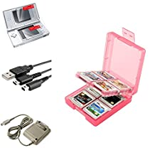 Insten Coral 16in1 Card Case Cover + USB Cable + Grey AC Charger + 2-LCD Protector Compatible with Nintendo DS Lite