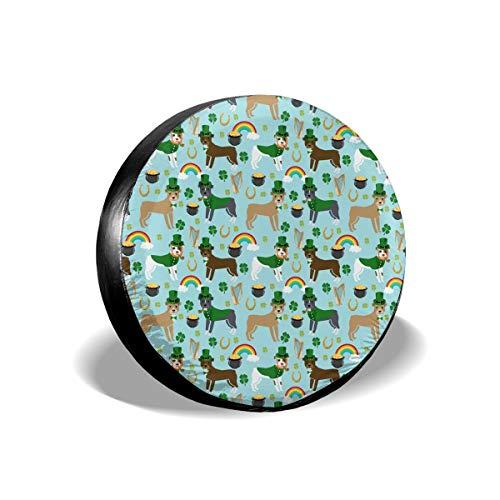 St Patricks Day Leprechaun Pitbull Dog Rainbow Spare Tire Cover Rear Car Decorations Holiday Ornament Wheel Accessories Decor Protector 14 15 16 17 Inch for Jeep Trailers RV SUV Trucks Offroad Parts ()