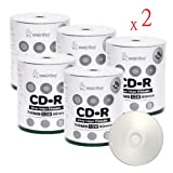 Smart Buy CD-R 1000 Pack 700mb 52x Printable Silver Inkjet Blank Recordable Discs, 1000 Disc, 1000pk