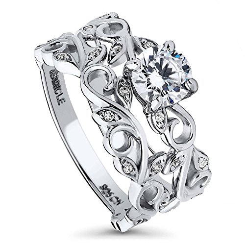 BERRICLE Rhodium Plated Sterling Silver Round Cubic Zirconia CZ Filigree Leaf Solitaire Engagement Wedding Ring Set 0.96 CTW Size 6 ()