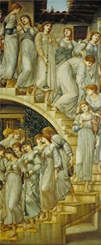 Oil Painting 'Sir Edward Coley Burne-Jones - The Golden Stairs,1880' 30 x 73 inch / 76 x 184 cm , on High Definition HD canvas prints is for Gifts And Bar, Basement And Hallway Decoration by LuxorPre