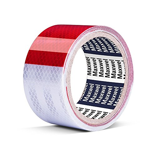 Reflective Tape Conspicuity Red White - 2 Inch 10 Feet Waterproof Hi-Visible Reflector Tape Safety Caution Warning for Outdoor/Trailer/Truck/Motorcycle/Night Runner (Pack of 1 Piece)