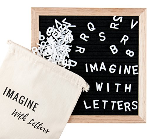 Black Felt Letter Board: 10x10 Inches. Wooden Letter Board over 600 Characters: Changeable White Letters, Numbers, Symbols, Punctuation. Oak Wood Frame. Accessories Included: Pouch, Pair of Scissors. (1 Walnut 12 Inch Board)