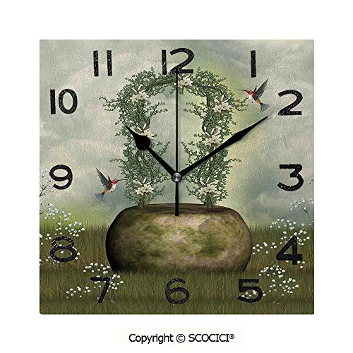 SCOCICI 8 inch Square Clock Fairytale Scene with Flowers Stone and Hummingbird Wildflower Arch Cloudy Sky Unique Wall Clock-for Living Room, Bedroom or Kitchen Use ()