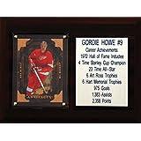 """NHL Detroit Red Wings Gordie Howe Career Stat Plaque, 6"""" x 8"""", Brown"""
