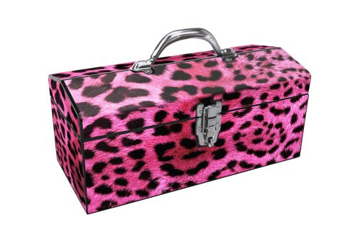 Sainty Art Works 24-033 Art Deco Leopard Tool Box, Pink by Sainty Art Works