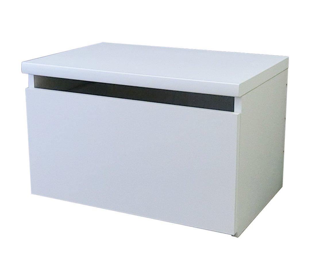 ベンチ チェスト 収納 日本製 引き出し (幅 60 奥行 40.5 高さ 38 cm)(木製 白 色 強化 プリント 紙 化粧繊維板 汚れ防止 加工 キャスター付 き 国産) ベンチ 収納 座れる おもちゃ箱 玄関ベンチ B07DXF1N6Q