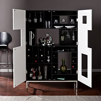 Southern Enterprises Shadowbox Wine Bar Cabinet, Black