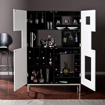 Nice Southern Enterprises Shadowbox Wine/Bar Cabinet, Black