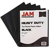 JAM Paper Heavy Duty Plastic 2-Pocket Presentation Folder - 9'' x 12'' - Black - 6 Folders per Pack