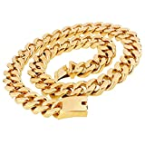 20mm Heavy Big Cool Curb Cuban Mens Boys Hip Hop Chain Link Stainless Steel Gold Necklace 30 inches
