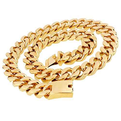 20mm Heavy Big Cool Curb Cuban Mens Boys Hip Hop Chain Link Stainless Steel Gold Necklace 28 inches by W&W Lifetime