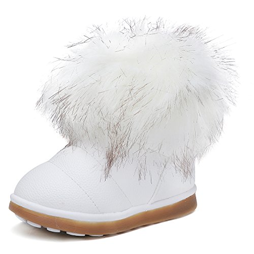 UBELLA Girls Warm Fur Outdoor Slip-on Boots Winter Snow Boots(Toddler/ Little Kids) (Girls White Boots)