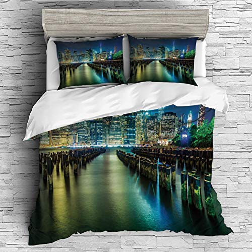 Cotton Bedding Sets Duvet Cover with Pillowcases Printed Comforter Cover Sets(King Size) New York,Pier Pilings and Manhattan Skyline at Night Downtown Urban East River,Dark Blue Green Yellow