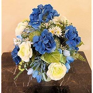Blue Hydrangea Cemetery Arrangement, Cemetery Arrangement with Ranunculus, Flowers For Cemetery Vase 6