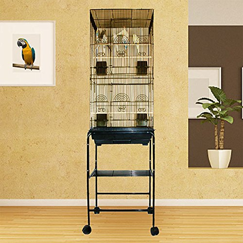 Kunia Kampout Tower Bird Cage with Stand - 18''W x 18''D x 65.5''H - Black by BirdCages4Less