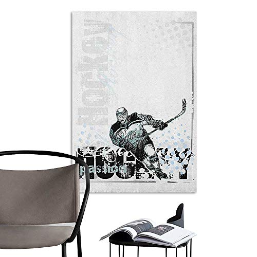 Alexandear Wall Mural Wallpaper Stickers Hockey Professional Goaltender in Sketch Art Style on a Grunge Sports Background with Dots Multicolor Creative Self-Adhesive W24 x -