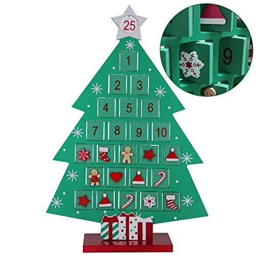 ATDAWN Countdown to Christmas Wooden Advent Calendar, Christmas Tree Countdown
