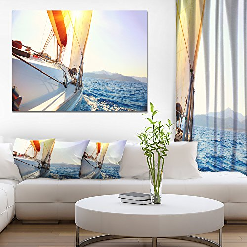 Sailboat Sailing in the Blue Sea Large Seashore Canvas Wall Art