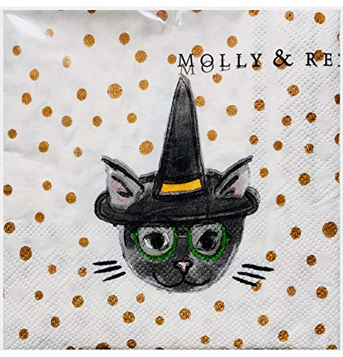 Molly & Rex a div of Punch Studio Set of 40 Cocktail Beverage Paper Napkins ~ Cat Witch Hat ()