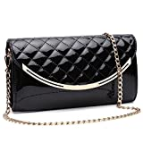 Womens Faux Patent Leather Clutch Handbag Evening Bag Shoulder Bag For Wedding and Party,black.