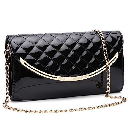 Quilted Patent Bag (GESU Women Faux Patent Leather Glossy Clutch Purse Evening Bag Handbag Shoulder Bag For Wedding Prom Party.(black))