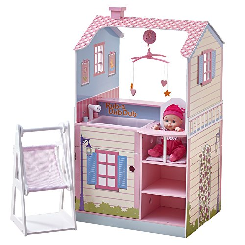 (Olivia's Little World - Classic Wooden Nursery Center Hand-Crafted Dollhouse for Baby Dolls, Pink, 34.00