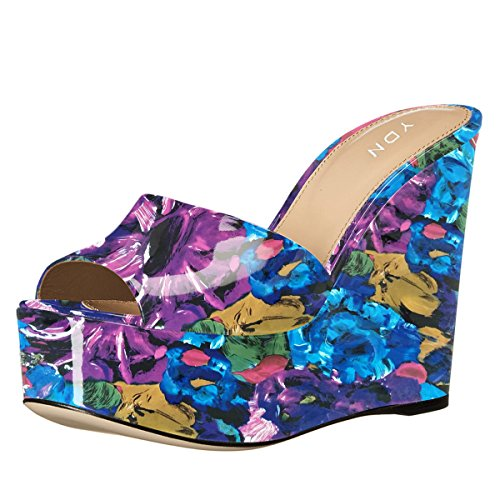 YDN Women High Heels Platform Mules Peep Toe Clogs Slip on Wedge Sandals Slide Shoes Purple Floral discount professional buy cheap wiki bnMIGuZZ