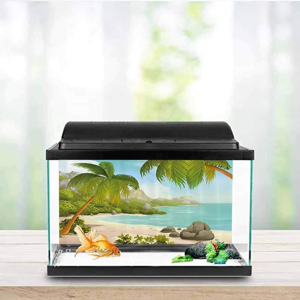 Amazon Com Tropical Decor Fish Tank Poster Exotic Beach With Coconut Palm Trees And Rocks Journey Ocean Coastal Design Decals Sticker Aqua Green W48 X L20 Inch Pet Supplies