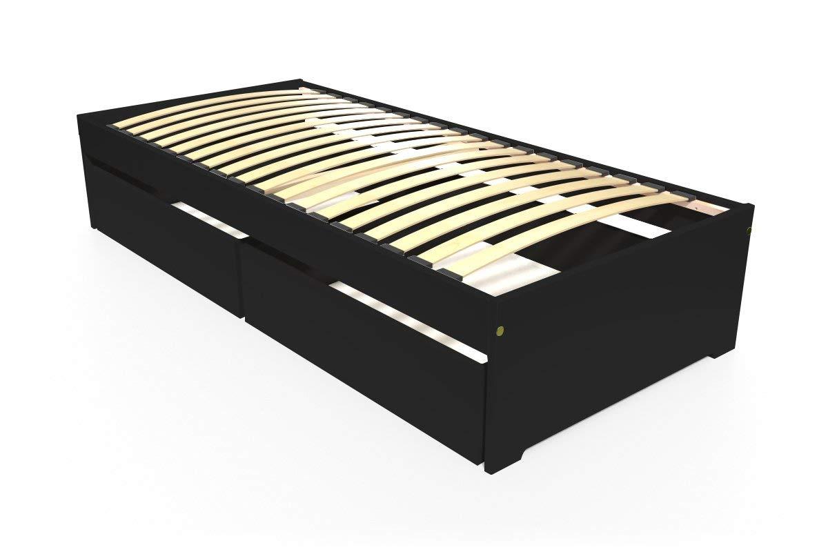 ABC MEUBLES - Einzelbett Malo 90x190 cm + Schubladen - TOPMALO90T - Schwarz, 90x190