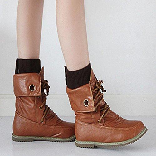 804a425950375 ... Sikye Hiver Mi-mollet Martin Bandage Bottes Mode Femme Cheville Bottes  Femme Casual Chaussures Café ...