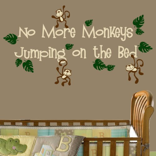 No More Monkeys Jumping on the Bed Nursery Wall Decal Set - Available on Amazon