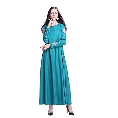Muslimische Kleid Damen Casual Abendkleid Langarm Knöchellang ...
