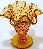 fenton glass vase GL191 - Fenton small hobnail amber glass ruffled vase