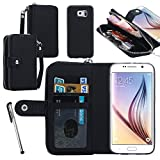 Urvoix For Samsung Galaxy S6 G9200, 2 in 1 [Separable Megnetic] Back Cover [Zipper Holder] Flip PU Leather Wallet Case Black (Not for S6 Edge) Review