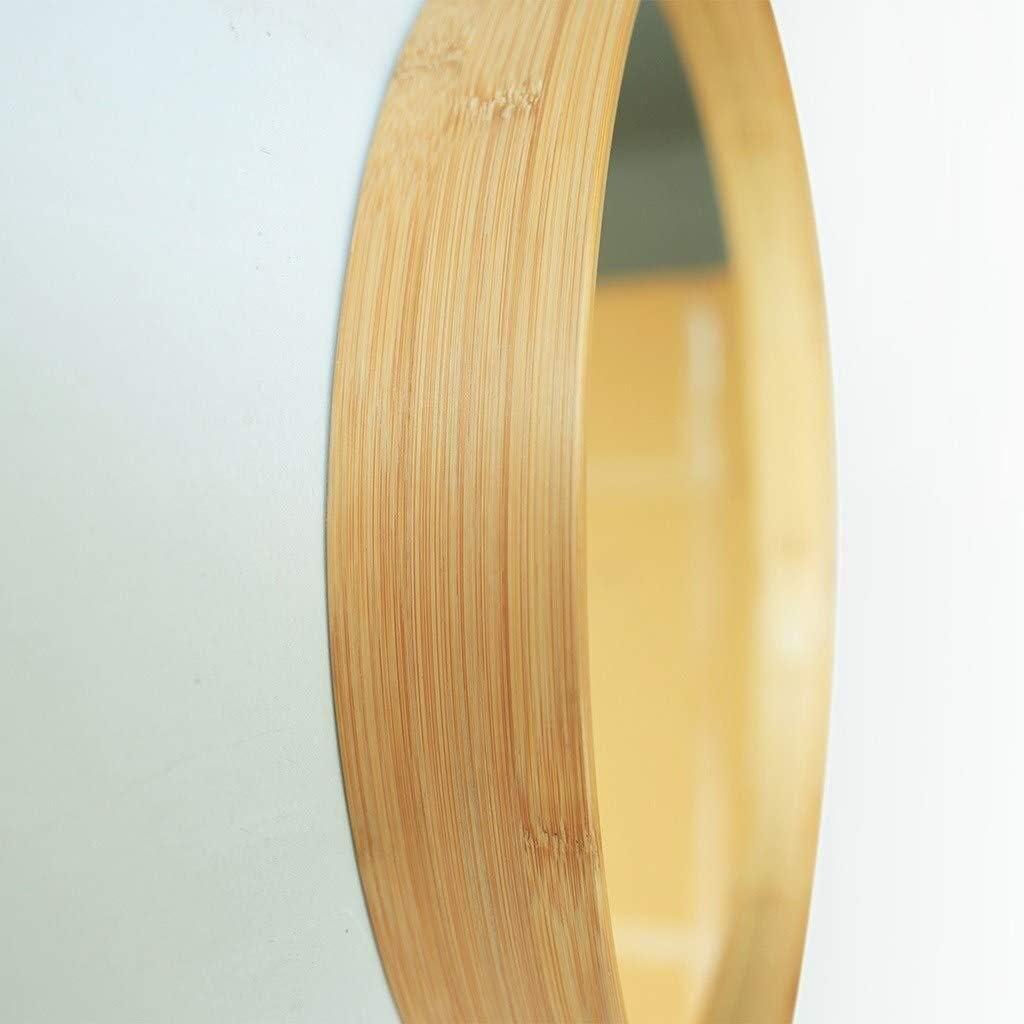 Ronde Nordique Bambou Chambre Miroir d/écoratif Salle de Bains Miroir de Maquillage for Portes dentr/ée Salons Diam/ètre 24inch QZ Support Mural Miroir de Salle deau