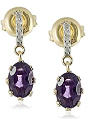 18k Yellow Gold over Sterling Silver Amethyst and Diamond Accent Drop Earrings