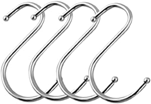 SumDirect 100PCS Scarf Apparel Punch Cup Bowl Kitchen S Shaped Silver Tone Metal Hanging Hooks