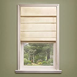 "Chicology Standard Cord Lift Roman Shades Soft Fabric Window Blind 27""W X 64""H Sahara Sandstone (100% Cotton)"